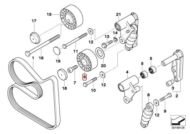 Tensor correia BMW 325 328 323 330 320 318 1991 a 2005; X5 3.0 2000 a 2003; 528 530 1996 a 2006; X3 2003 a 2006; Z3 1.8 e 2.8; Z4 2.5 e 3.0