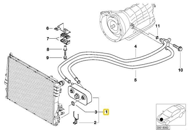 Trocador de calor do câmbio BMW 330 328 323 325 320 1998 a 2003 E-46;X3 2003 a 2006; Z4 2002 a 2005