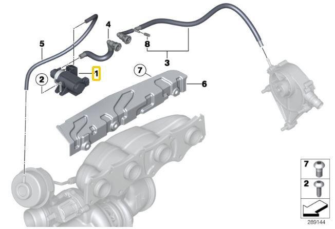 Válvula de vácuo da turbina BMW 335 135 235 de 2010 a 2018; 320 328 de 2012 a 2018; 528 535 550 de 2013 a 2018; 650 de 2013 a 2018; X3 e X4 de 2013 a 2018; X5M e X6M 2009 2018