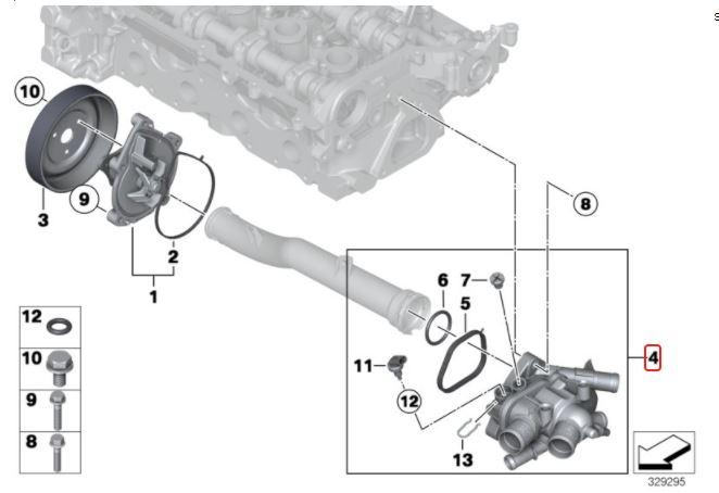 Válvula Termostática Mini Cooper 1.6 T 2008 a 2013; Countryman 1.6 T 2010 a 2016; Clubman 2008 a 2014; Roadster Cabrio 2011 a 2015; Motor N14, N16 e 18