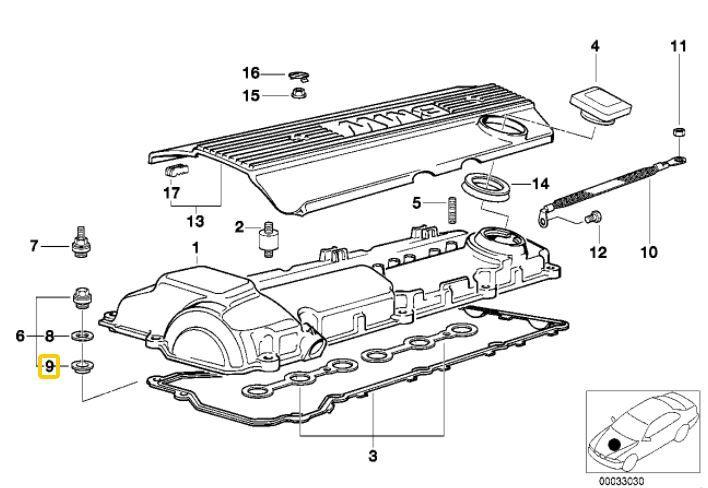 Vedador parafuso tampa de válvula BMW 325 328 323 320 330 1990 a 2004; 528 e 530 96/06; X3 2.5 e 3.0 03/06; X5 3.0 2000 a 2003; Z3 2.8 3.0 e M de 96/02; Z4 2.2 2.5 3.0 M3.2 02/08