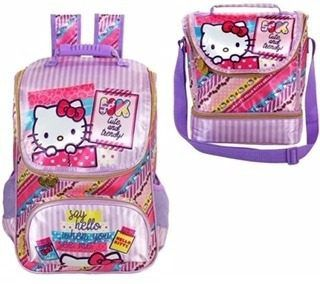 Kit Mochila+lancheira Hello Kitty Washi Pink + Brinde Estojo
