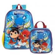 Mochila 16 DC Super Friends 9022 e Lancheira DC Super Friends 9024 Xeryus