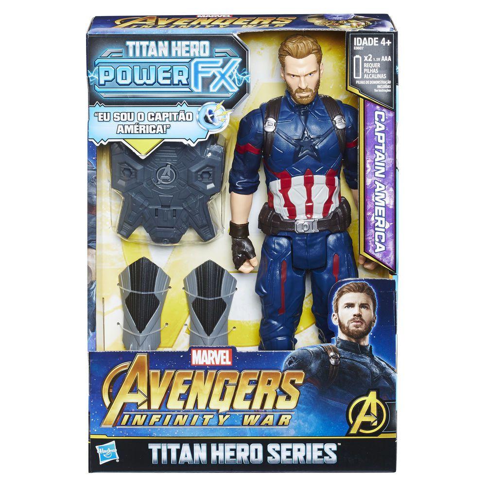 Boneco Capitão América - Os Vingadores - Power Pack  E0607 Hasbro