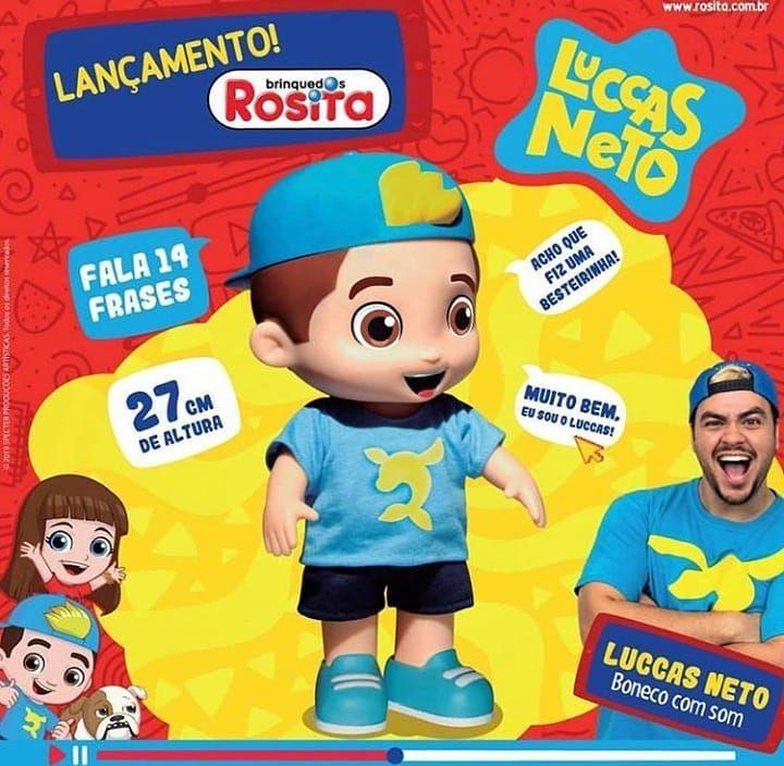 Boneco Luccas Neto Fala 14 Frases com Boliche do Luccas Original Rosita