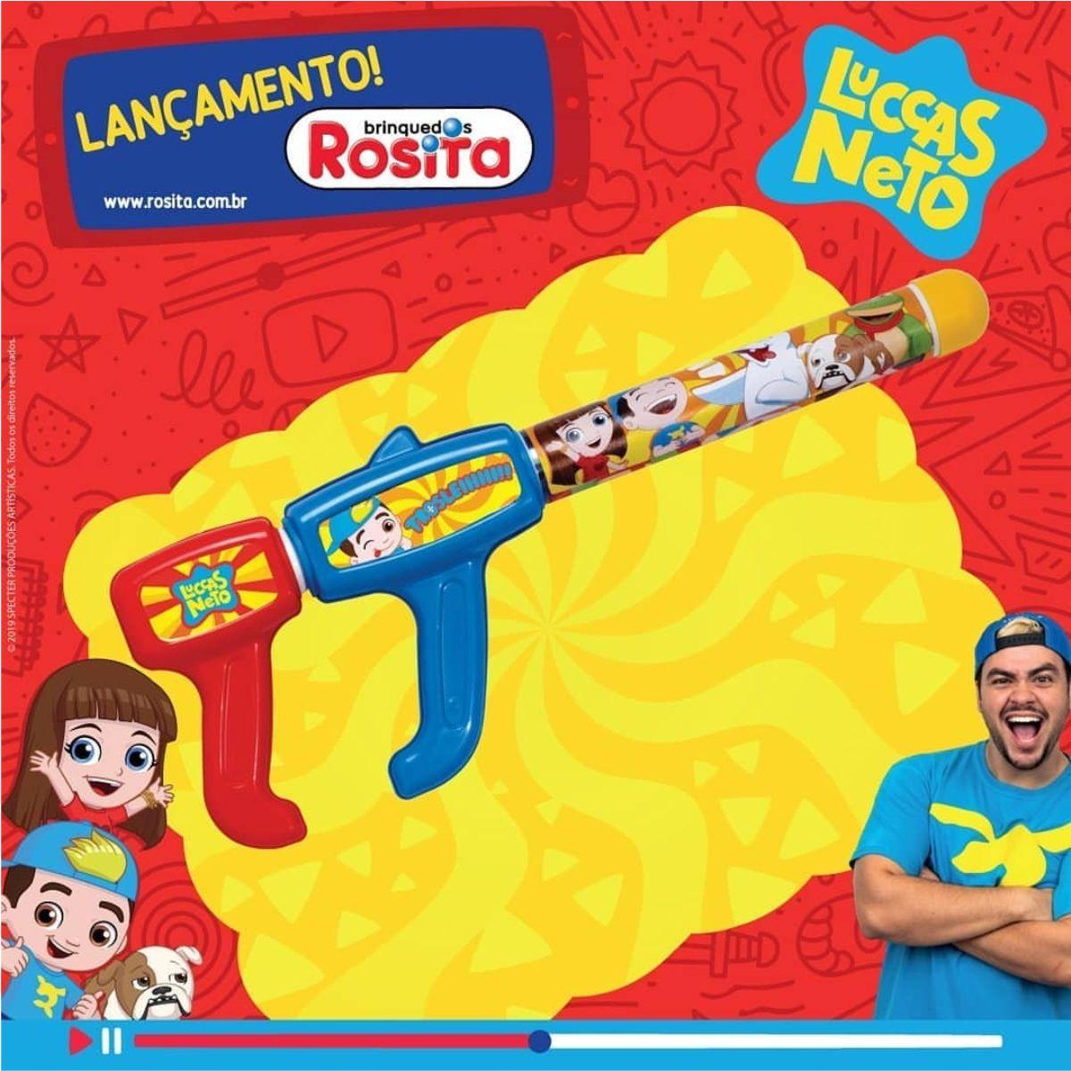 Boneco Luccas Neto Fala 14 Frases com Lança Agua Original Rosita