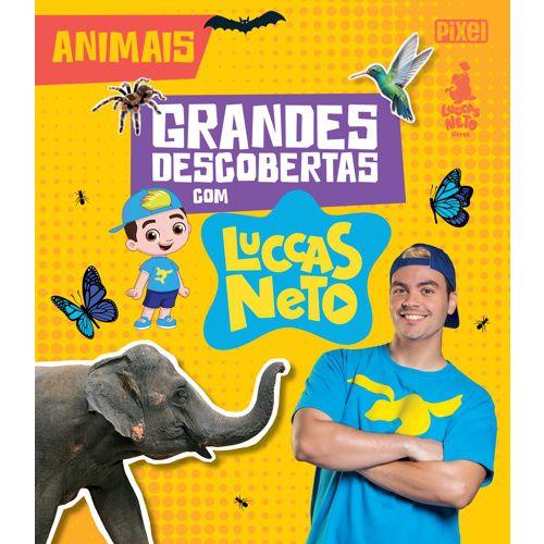 Boneco Luccas Neto Rosita com Livros Grandes Descobertas Animais e Dinossauros