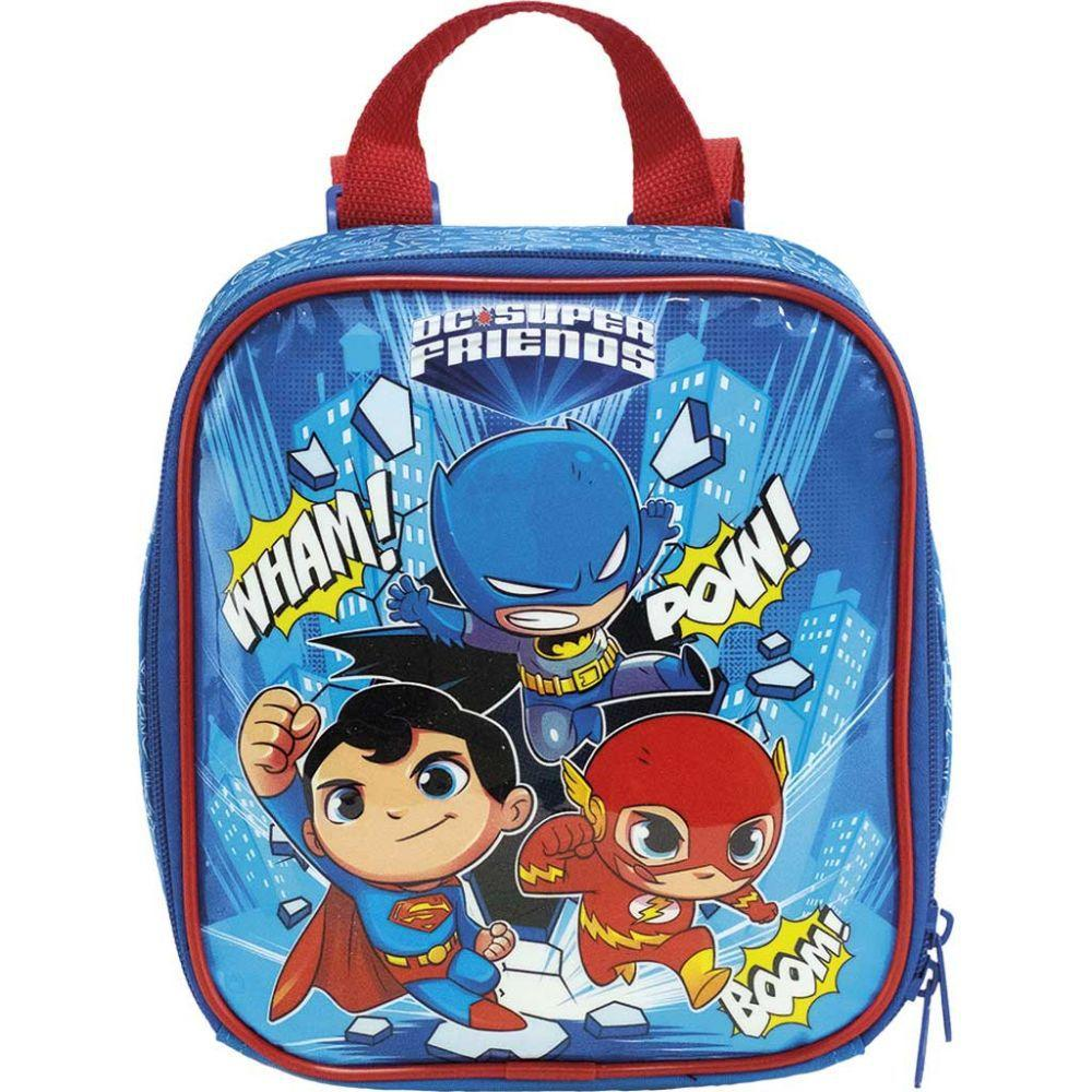 Mala Mochila com Rodas 16 DC Super Friends 9020 e Lancheira DC Super Friends 9024 Xeryus