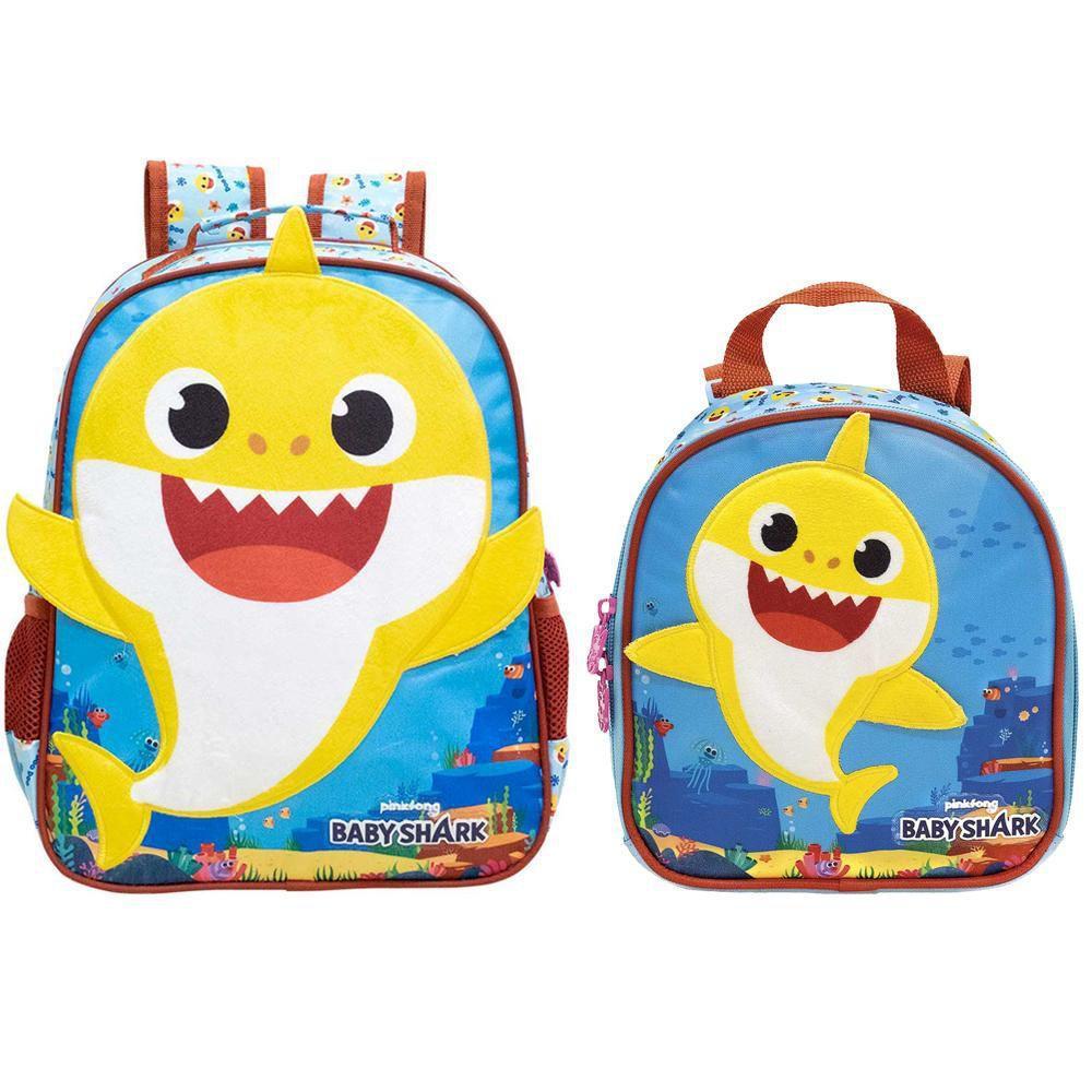 Mochila 14 Baby Shark Plush M 9043 e Lancheira Baby Shark Plush 9044 Xeryus