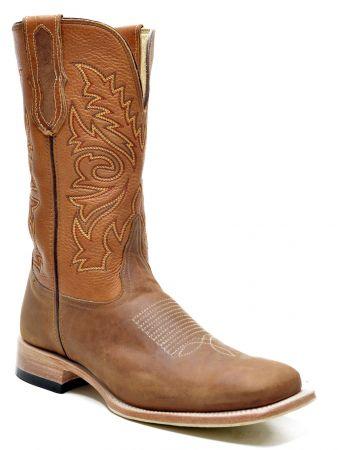 Bota Quadrada Texana Masculina de Couro