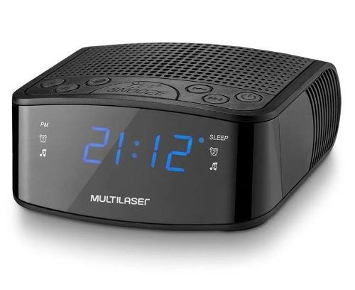 Radio Relógio Digital Multilaser Fm 3w Rms Sp288 Preto