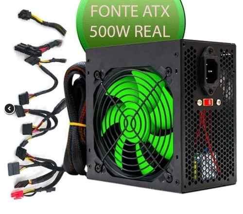 Fonte Atx Gamer 500w Com Cooler 120mm Bivolt Af-500