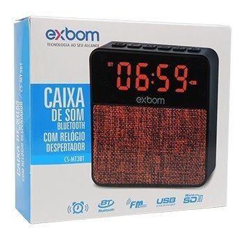 CAIXA DE SOM BLUETOOTH COM DESPERTADOR CS -MT3BT EXBOM VERMELHA