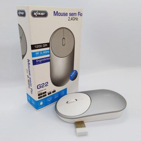 Mouse Sem Fio Knup G22 Alcance 10m 1200 Dpi 2,4ghz
