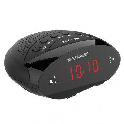 Rádio Relógio Multilaser Digital 3W RMS FM SP352 Preto