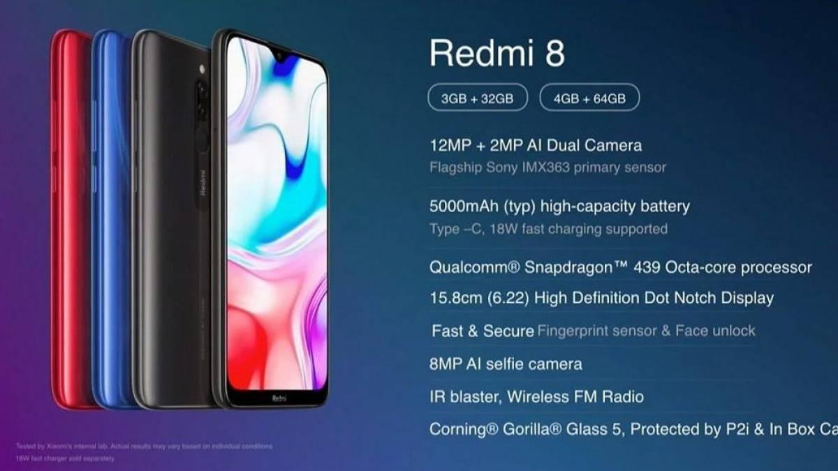 "Smartphone Xiaomi Redmi 8 Dual 64GB de 6.22"" 12+2MP/8MP Onyx Black"