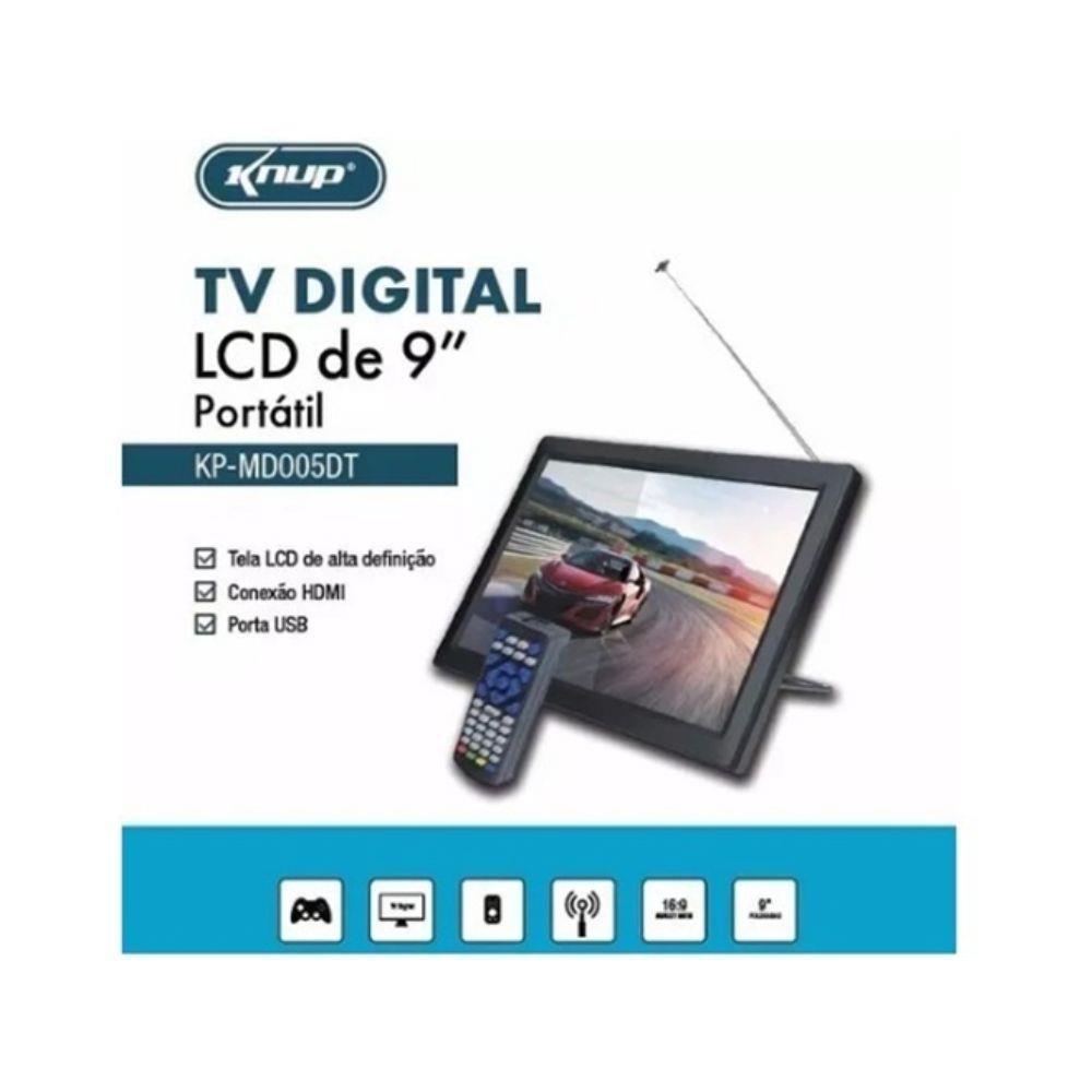 """Tv Portatil Knup 9"""" Hdmi E Conversor Integrado"""