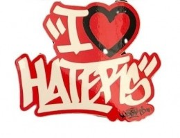 Adesivo DGK I love Haters Spray White/Red