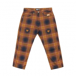 Calça High Plaid Chino Pants Love Navy/Orange