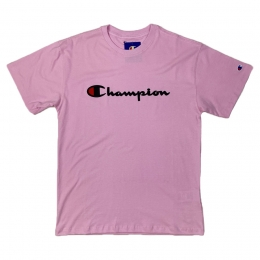 Camiseta Champion Embroidery Logo Script Rosa Bebê