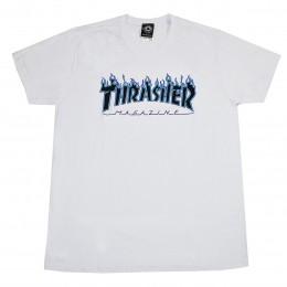 Camiseta Thrasher Purple Flame Logo Branco