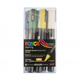 Estojo Canetas Posca 5M com 6 Unidades - Preta, Branca, Amarela, Verde, Azul, Vermelho