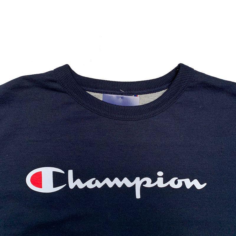 Blusa de Moletom Champion Gola Careca Script Logo Marinho