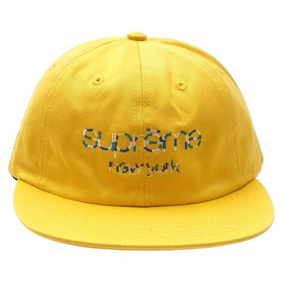 Boné Supreme Multicolor Twill 6 Panel Cap Classic Logo Yellow