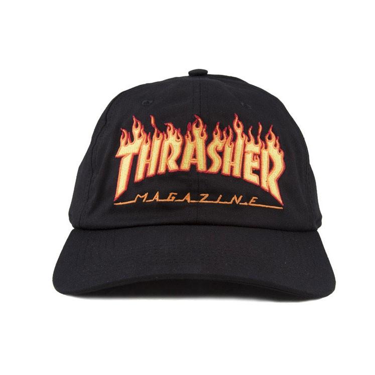 Boné Thrasher Flame Logo Dad Hat Preto