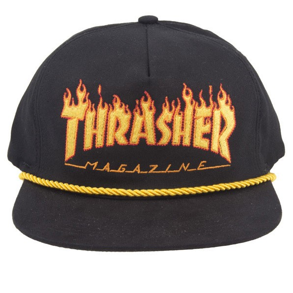 Boné Thrasher Magazine Flame Logo Rope Snapback Preto