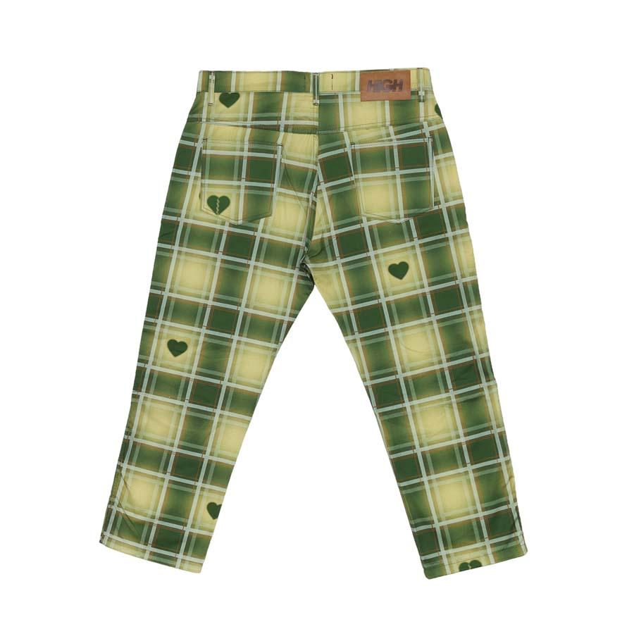 Calça High Plaid Chino Pants Love Beige/Green