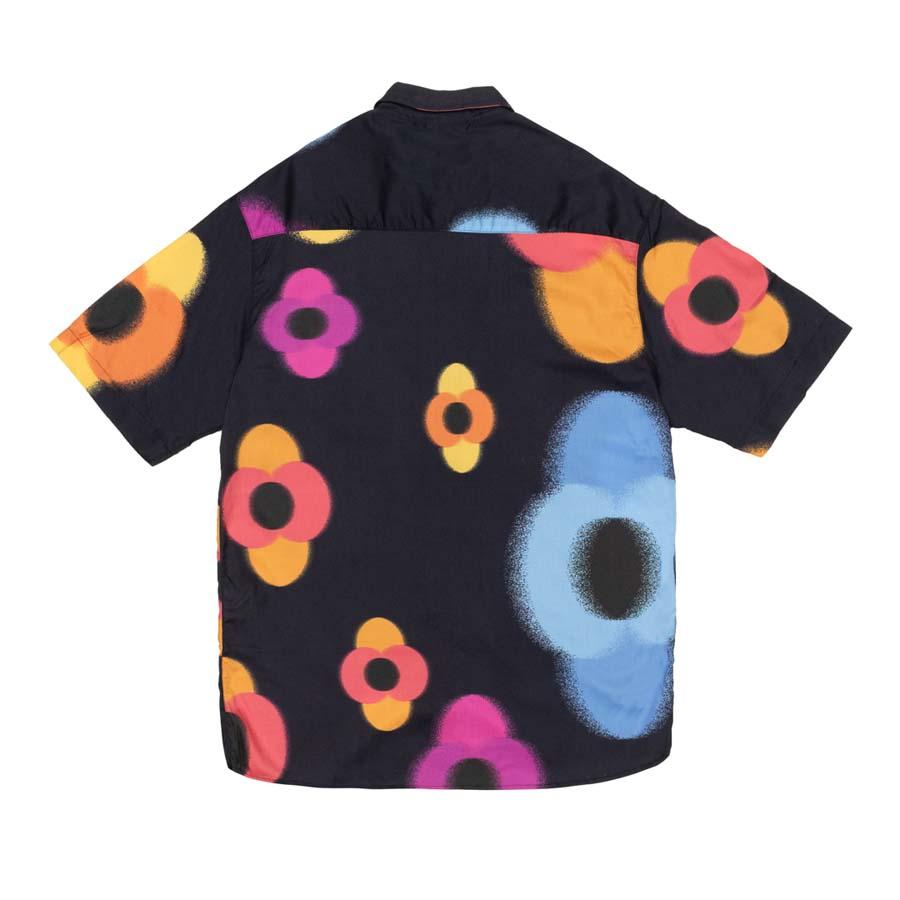 Camisa High Button Shirt Flowers Black