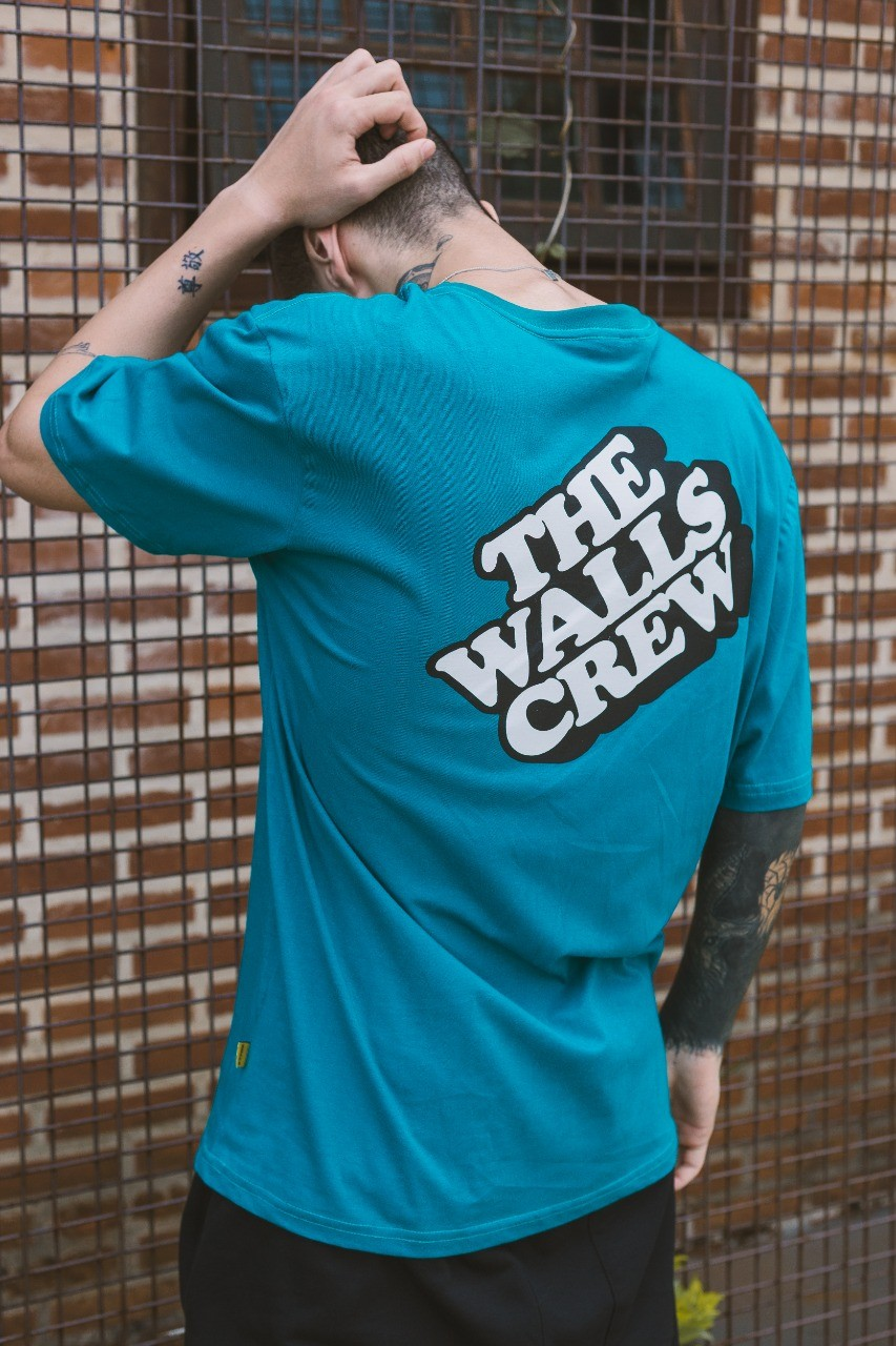 Camiseta Walls Block Logo Verde Esmeralda