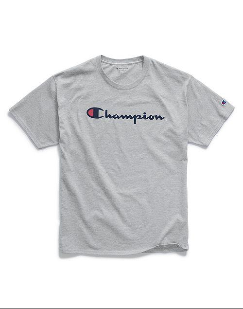 Camiseta Champion Classic Script Logo Cinza