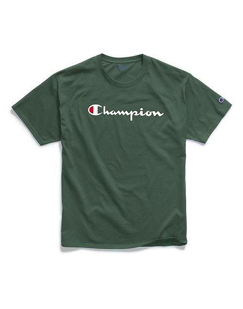 Camiseta Champion Classic Script Logo Verde Escuro