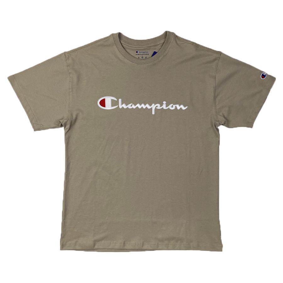 Camiseta Champion Embroidery Logo Script Chalk Kaki