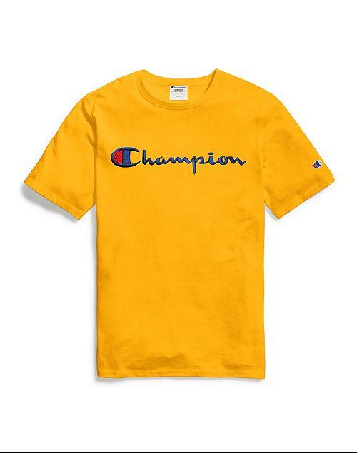 Camiseta Champion Heritage Tee Script Logo Amarela