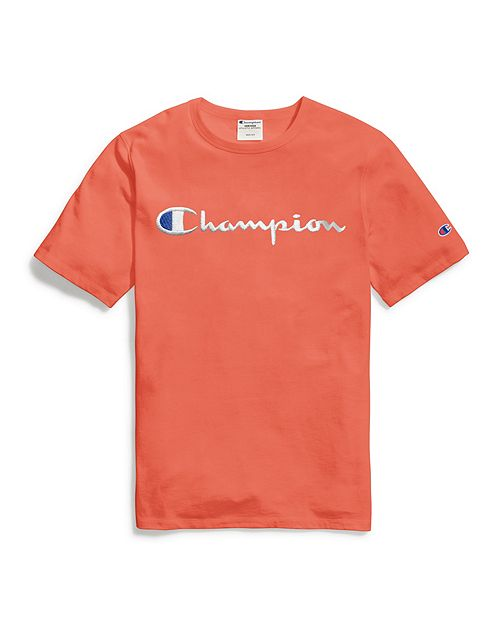 Camiseta Champion Heritage Tee Script Logo Laranja
