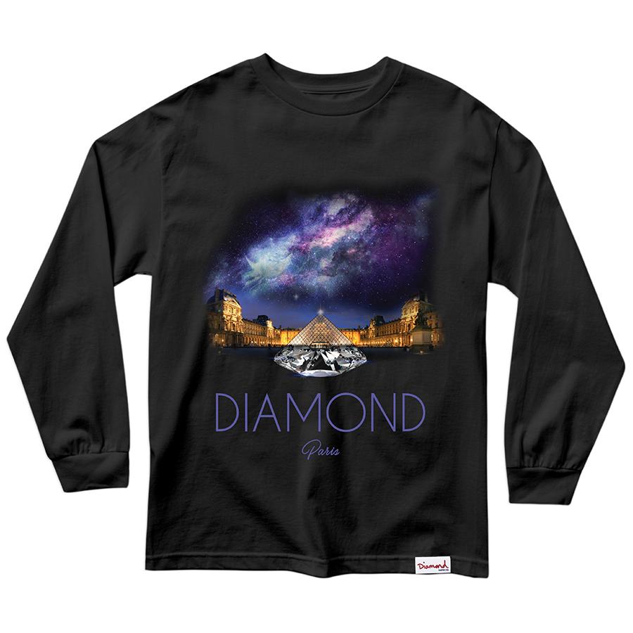 Camiseta Manga Longa Diamond Louvre Pyramid Preta