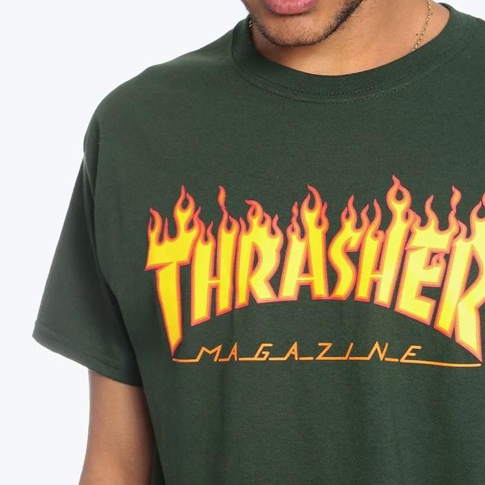 Camiseta Thrasher Flame Logo Green