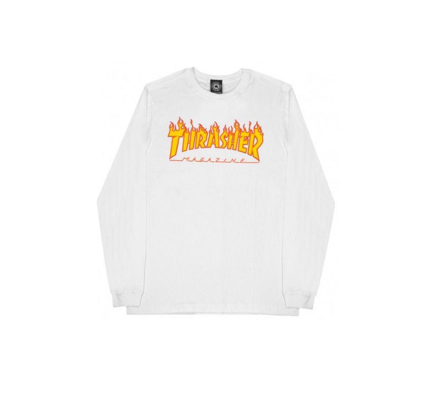 Camiseta Thrasher Flame Logo Longsleeve Branco