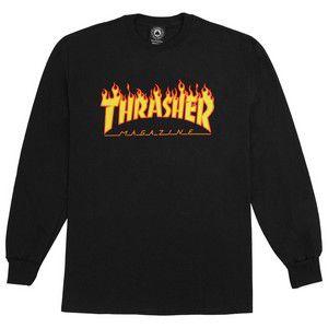 Camiseta Thrasher Flame Logo Longsleeve Preto