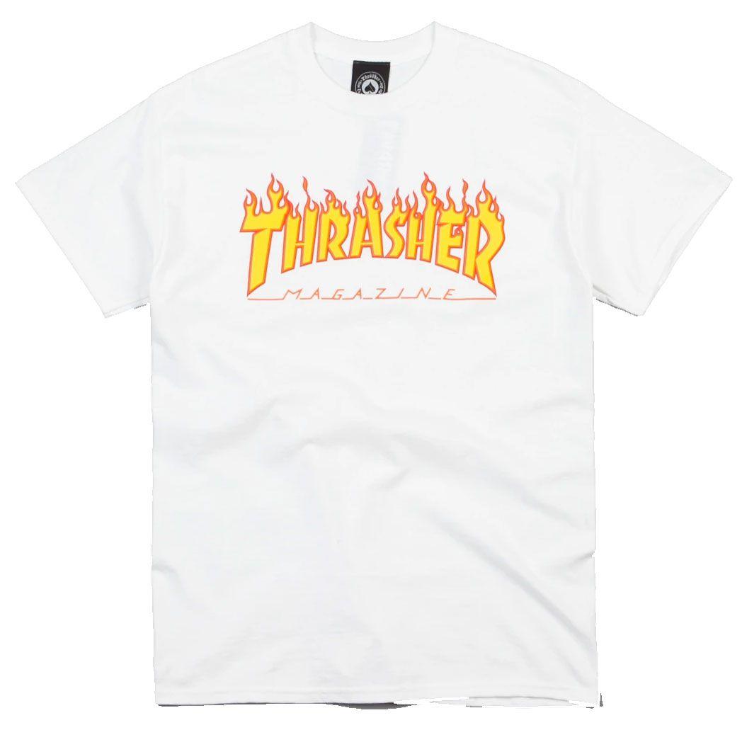 Camiseta Thrasher Flame Logo White