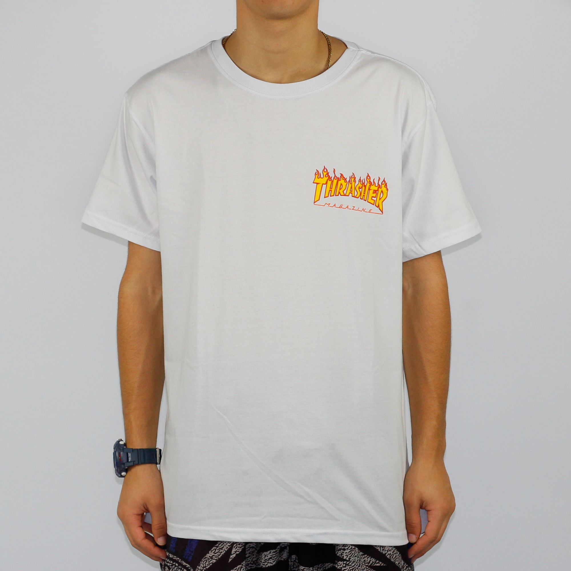 Camiseta Thrasher MC Flame Bottom Branco
