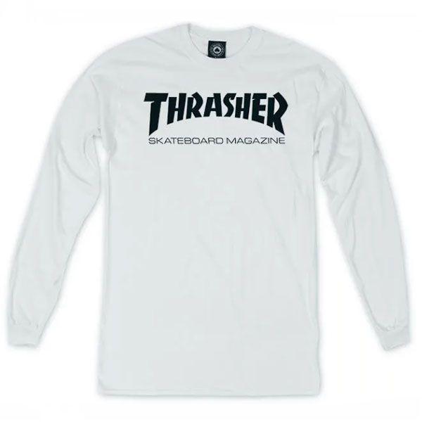 Camiseta Thrasher Skate Mag Logo Longsleeve Branco
