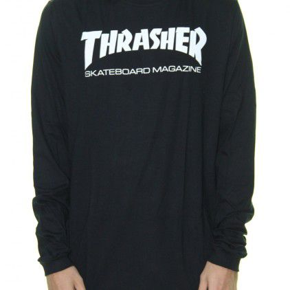 Camiseta Thrasher Skate Mag Logo Longsleeve Preto