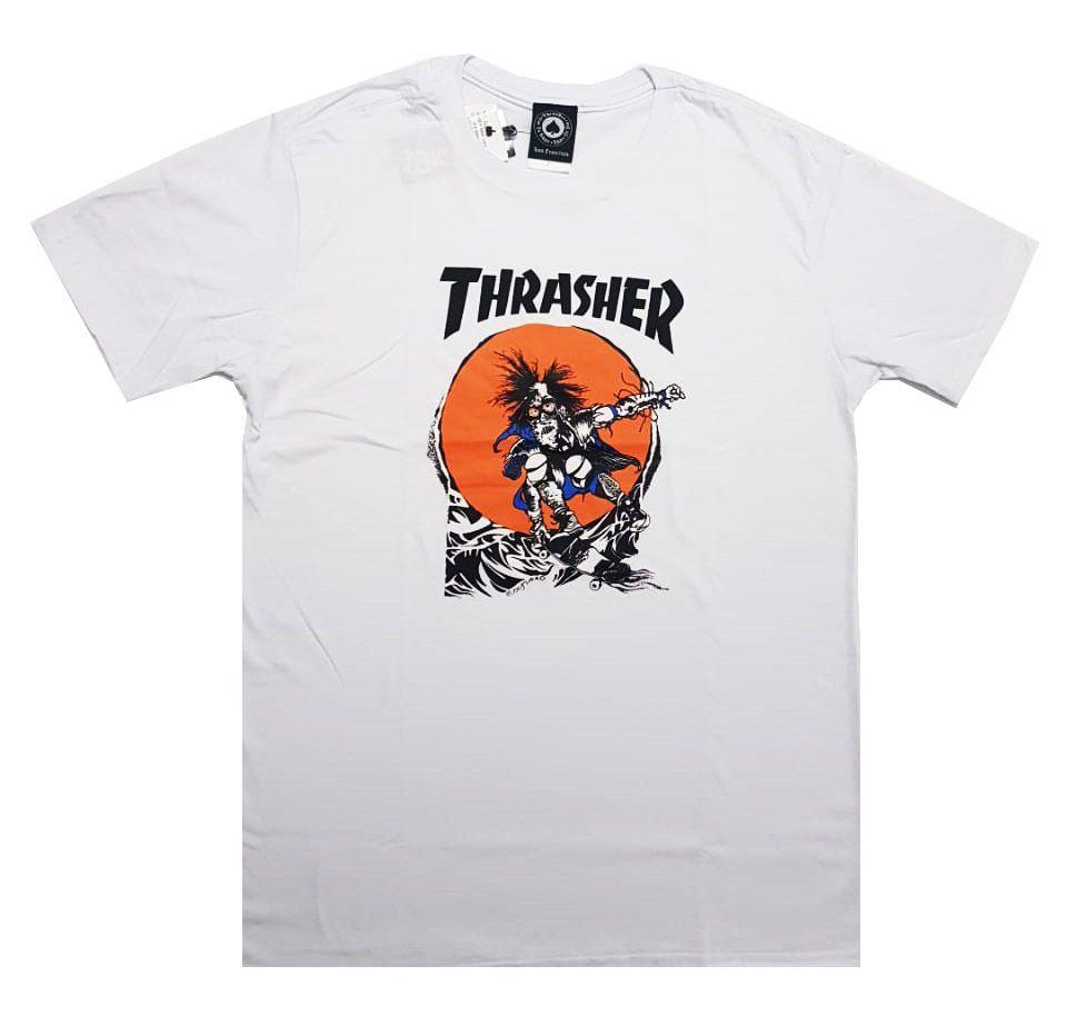 Camiseta Thrasher Skate Outlaw White