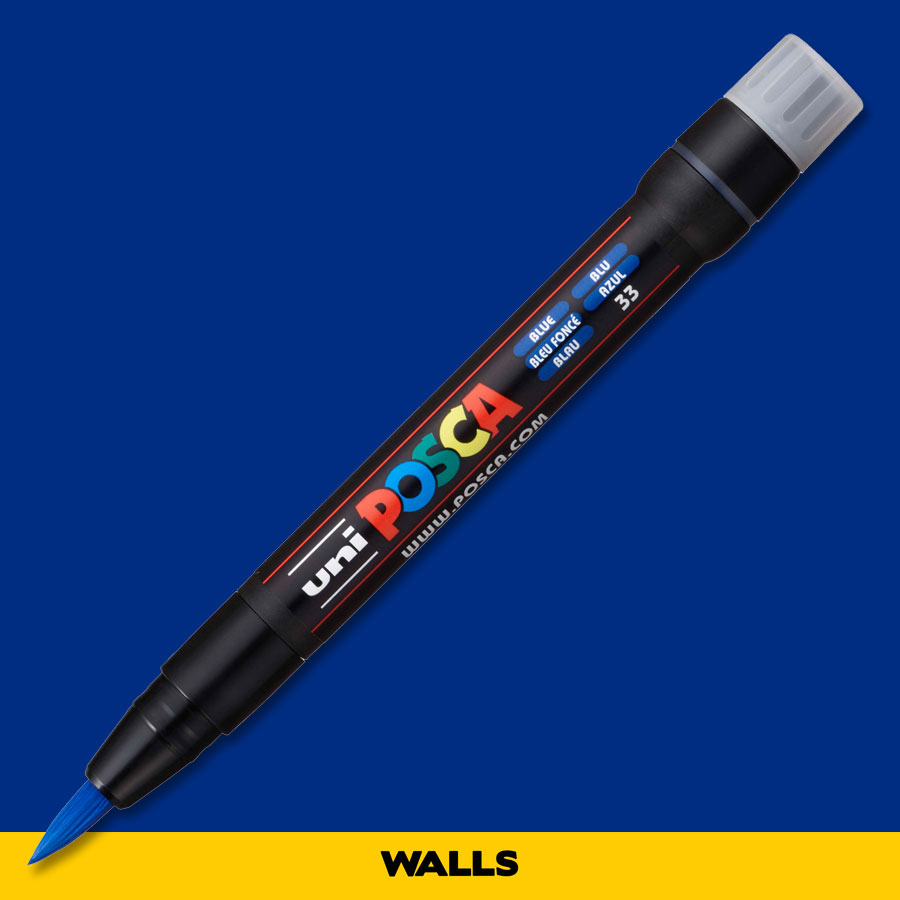 Caneta Brush Posca PCF 350 Azul