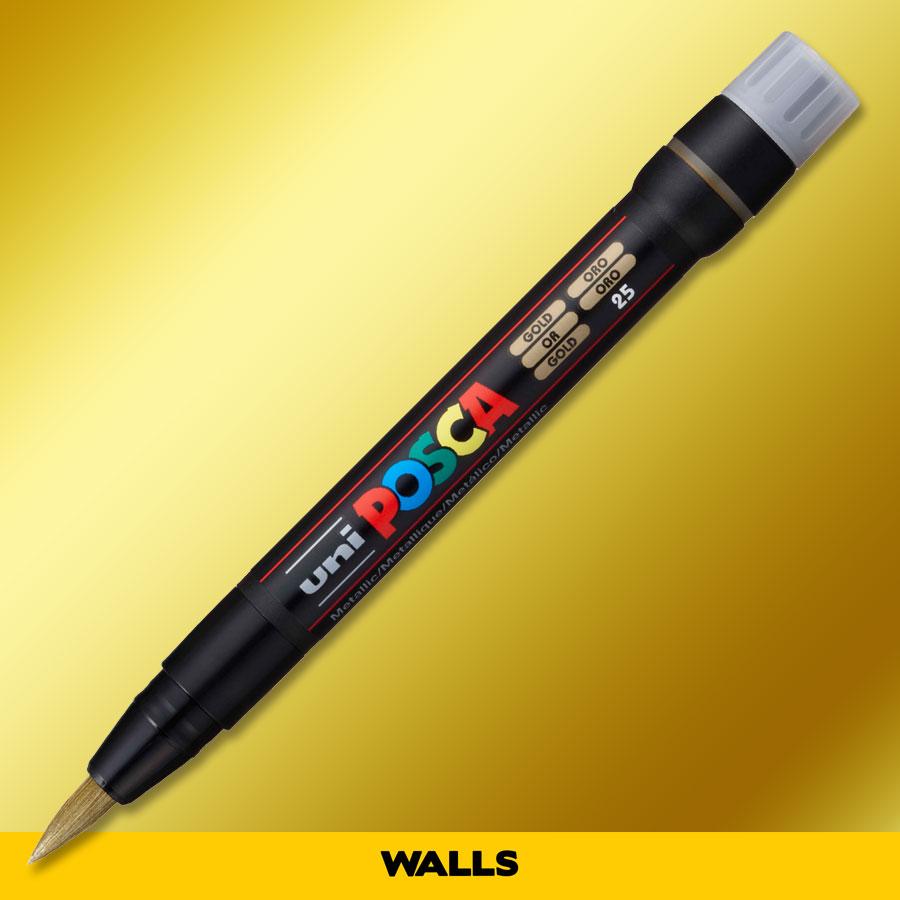 Caneta Brush Posca PCF 350 Ouro