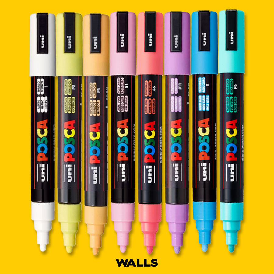 Estojo Canetas Posca 5M Soft Colors com 8 Unidades